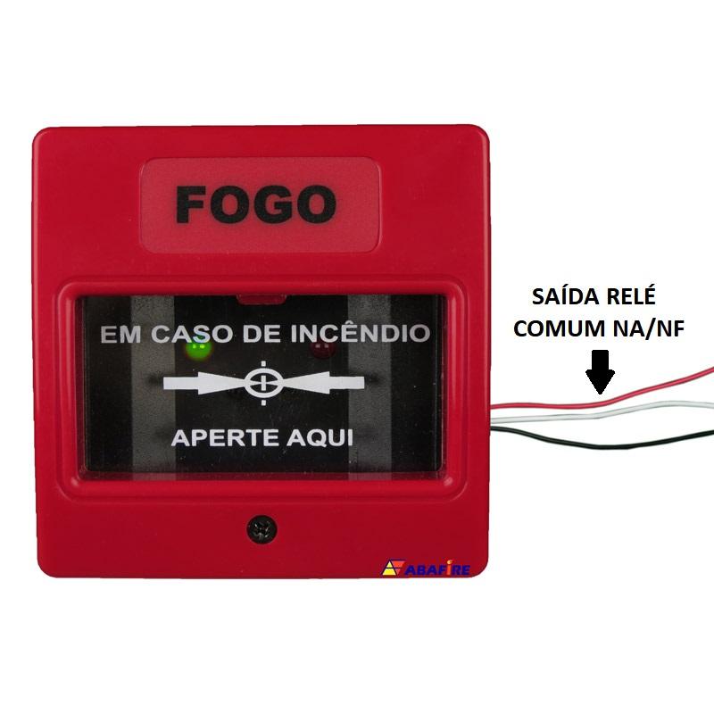 Botoeira e Acionador Manual Convencional com relé NA/NF (Convencional Call Point with relay NO/NC) código AFAM2R. Ideal para Módulo de Entrada Endereçável. Imagem 01