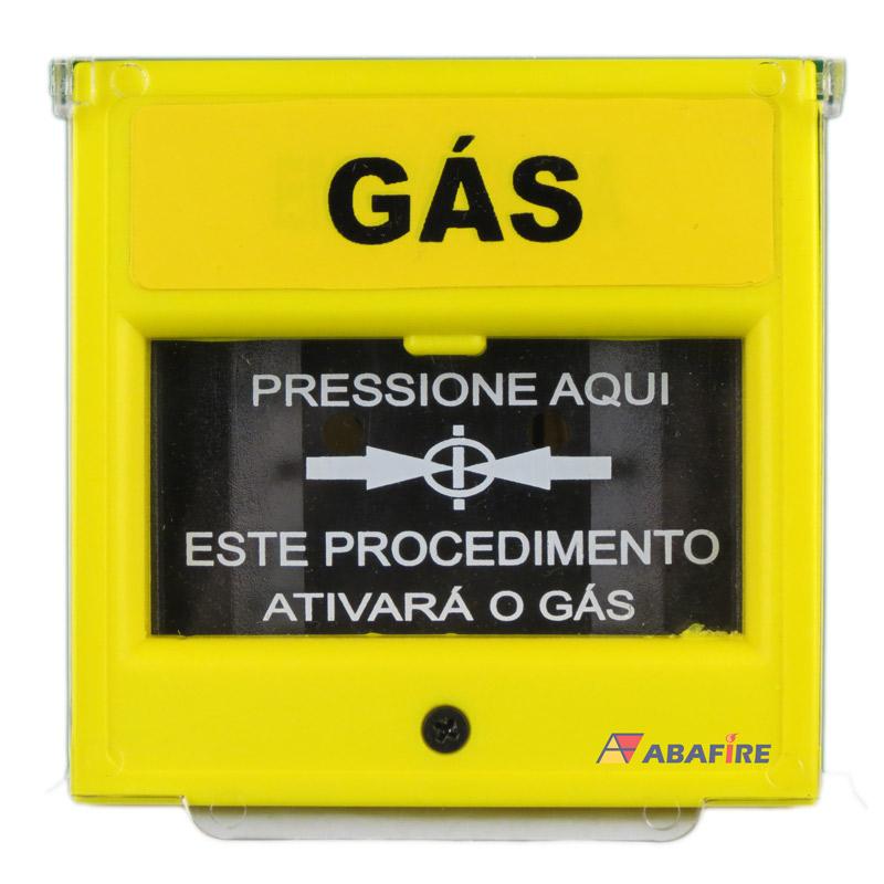 Acionador Manual e Botoeira de Comando Para Emergência e Acionamento de Gás, na cor Amarela com relé NA/NF código AFAM5 - Imagem 01