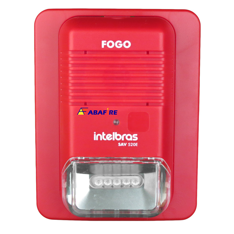 Sirene Audiovisual de Alarme de Incêndio Endereçável em Centrais CIE da Intelbras com Flashes de LED e 2 Tipos de Toques, código SAV520E - Imagem 01