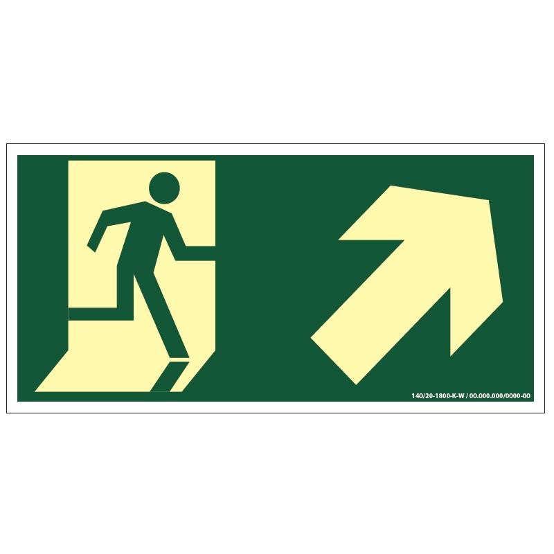 Placa de Sinalização Fotoluminescente de Rota de Fuga e Evacuação Tipo Subida a Direita com Boneco e Seta, código AFS4