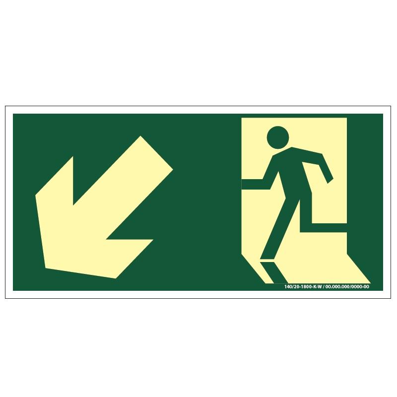 Placa de Sinalização Fotoluminescente de Rota de Fuga e Evacuação Tipo Descida a Esquerda com Boneco e Seta, código AFS7