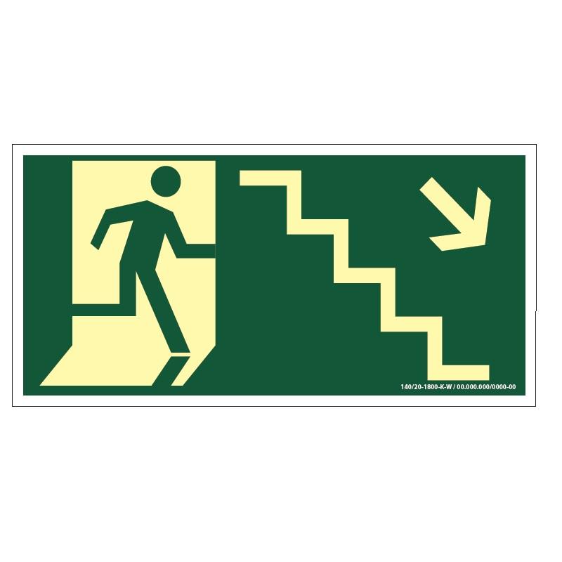 Placa de Sinalização Fotoluminescente de Rota de Fuga e Evacuação Tipo Desça a Escada a Direita com Boneco e Seta, código AFS8