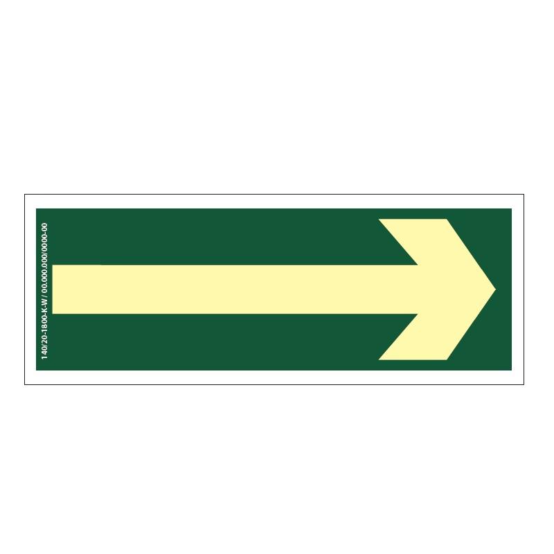 Placa de Sinalização Fotoluminescente de Rota de Fuga e Evacuação Tipo Seta Indicativa, código AFC1