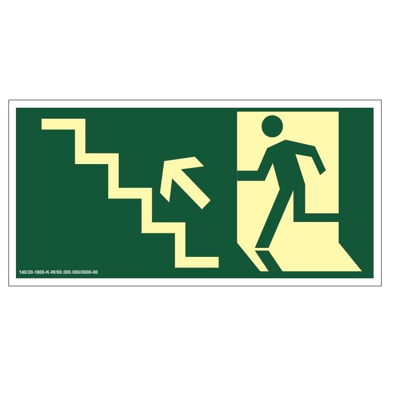 Placa de Sinalização Fotoluminescente de Rota de Fuga e Evacuação Tipo Suba a Escada a Esquerda com Boneco e Seta, código AFS10