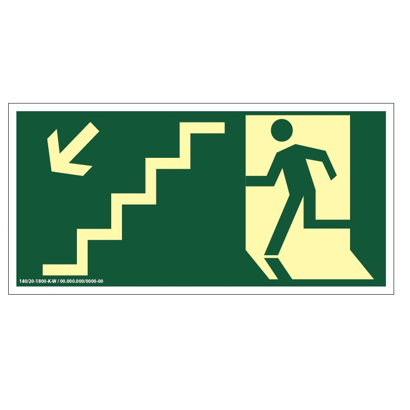 Placa de Sinalização Fotoluminescente de Rota de Fuga e Evacuação Tipo Desça a Escada a Esquerda com Boneco e Seta, código AFS9