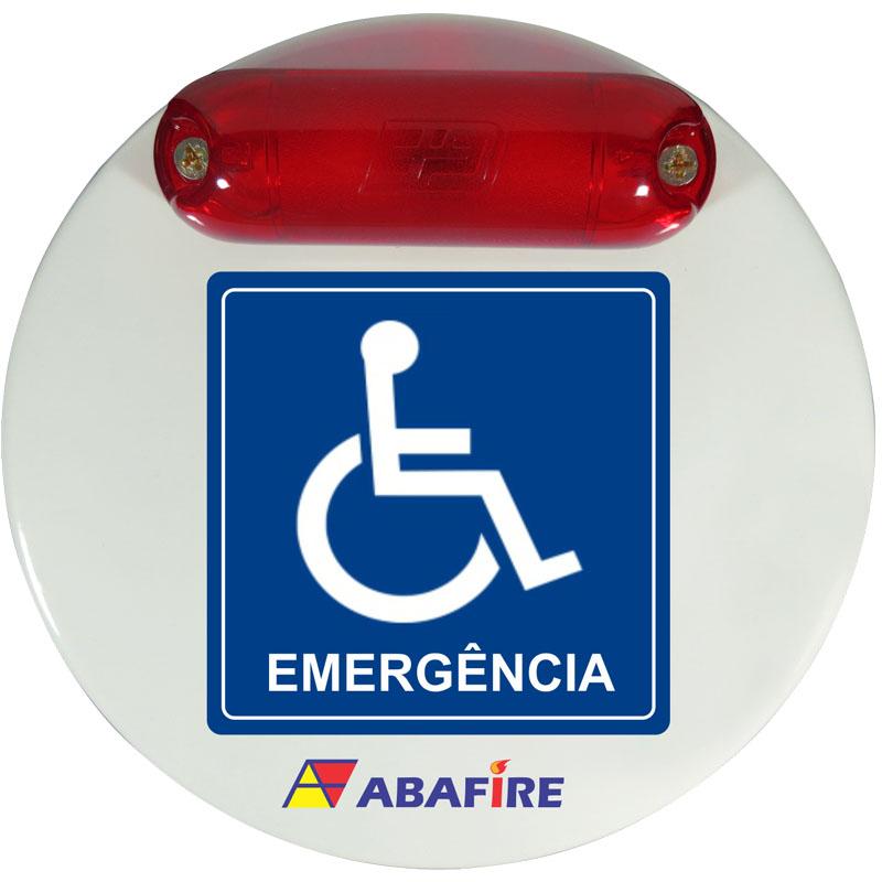 Campainha Sonora e Luminosa (Audiovisual) de Emergência e Alarme para Sanitários PCD (Pessoas Com Deficiência) Tipo Cabeado - Imagem 01